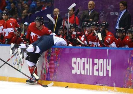Phil Kessel was held in check by Team Canada, by any means necessary.